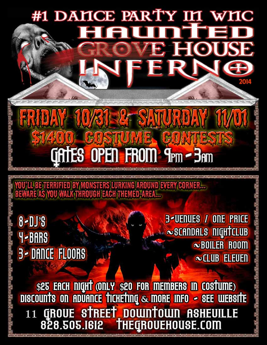 the grove house haunted inferno asheville halloween party