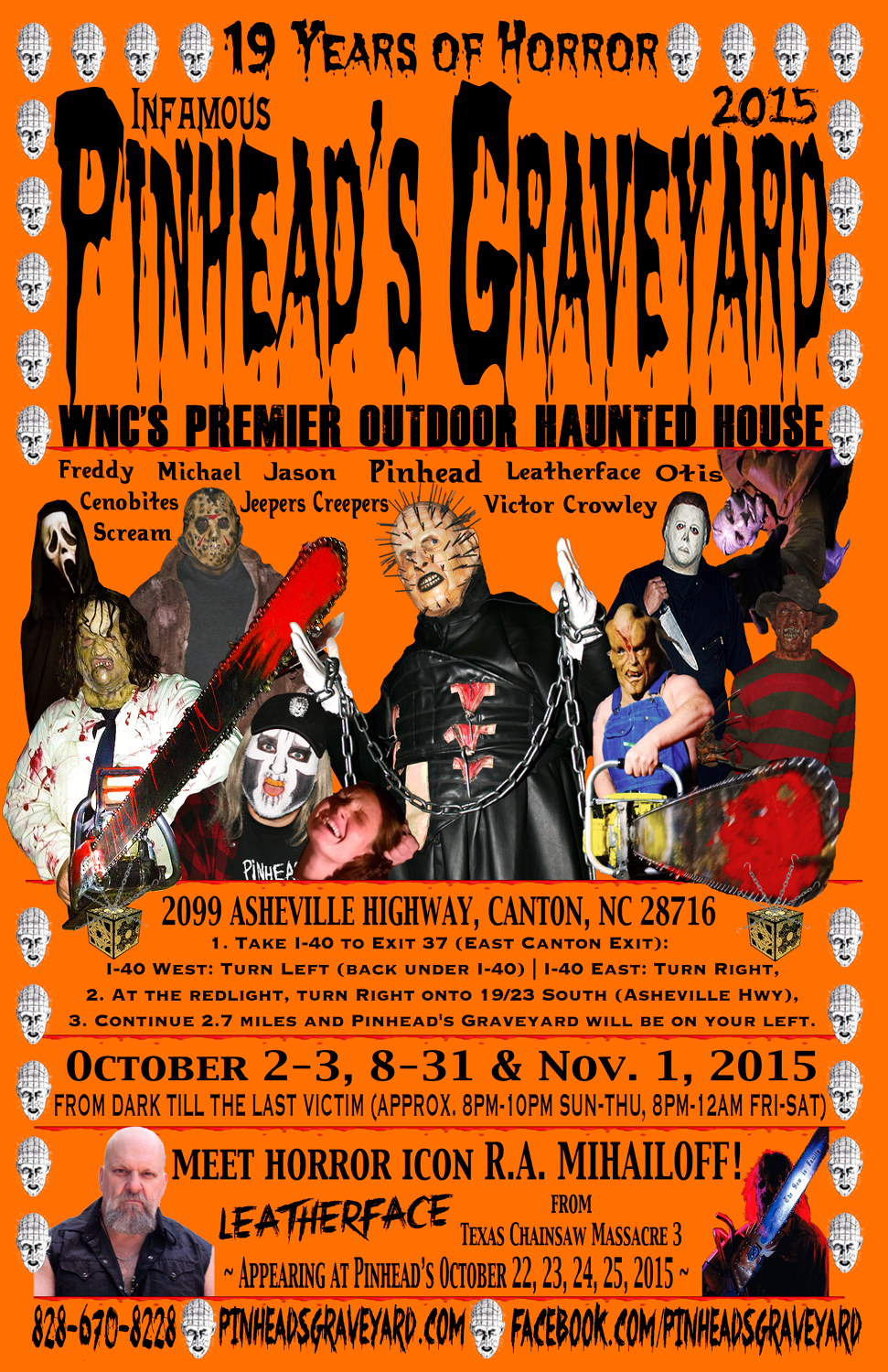 pinhead's graveyard 2015 flyer - premier haunted house | asheville